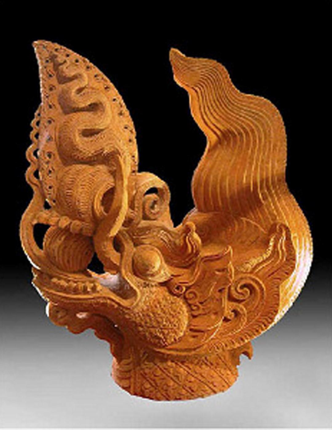 [Cổ vật tinh hoa: http://covattinhhoa.vn/] Đồ án trang trí đầu mái hình rồng bằng đất nung khai quật ở Hoàng Thành Thăng Long. Ảnh: T.Đ.A.S.